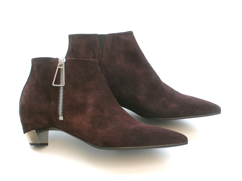 vic matie burgundy suede ankle boots with metallic heel. Black Bedroom Furniture Sets. Home Design Ideas