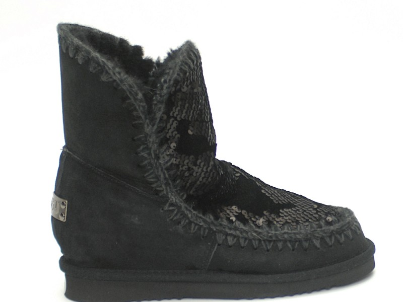 aspetto dettagliato 5a27a f8b59 Mou Boots Eskimo Sequins Black Inner Wedge