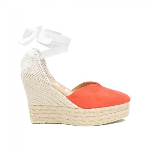 Manebi Hamptons Wedge espadrilles grapefruit