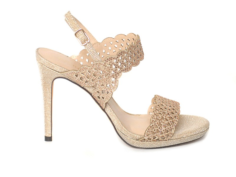 new arrival 9bd49 1e34f Menbur Lurex Crystal Embellished Sandals