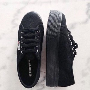 3459eb3f6b3 Superga Black Sneakers Mid Platform Rubber Sole - Niutrack.com