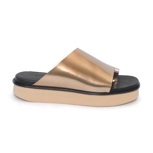 Vic Matie Asymmetrical Rose gold slippers