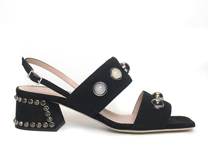 Alberto Gozzi Designer Shoes, Dark Leather Straps Platform Sandal Shoes