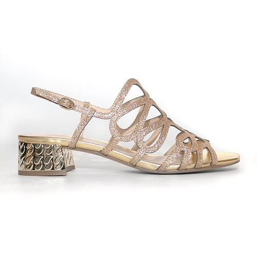 Elvio Zanon Gold Glitter sandals