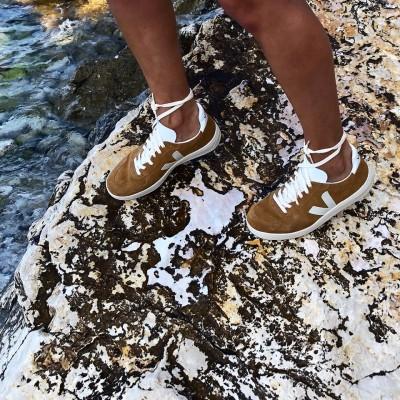 Veja V10 Suede Camel White Sneakers