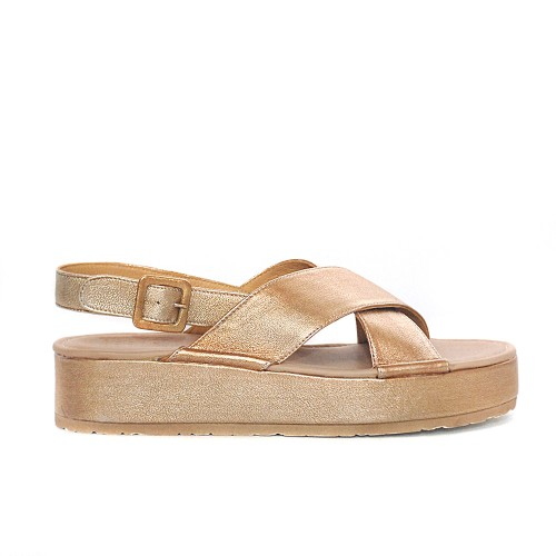 PF16 gold leather flatforms