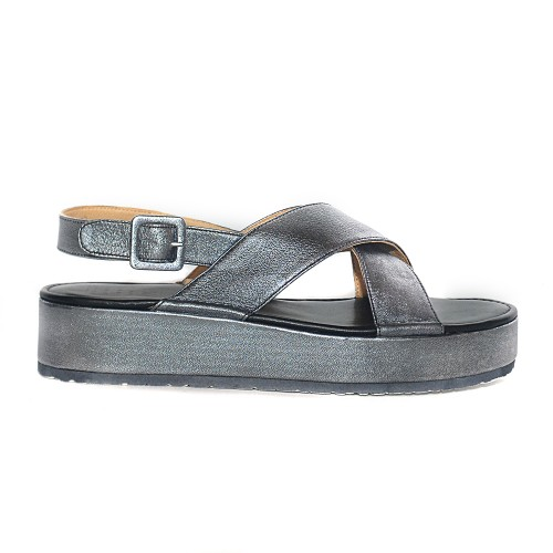 PF16 silver leather flatforms