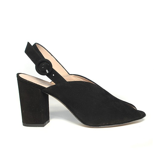 BAG BLACK SUEDE PEEP TOE