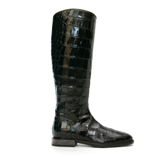 Alberto Gozzi Robi Knee High Croco Printed Black Leather Boots1