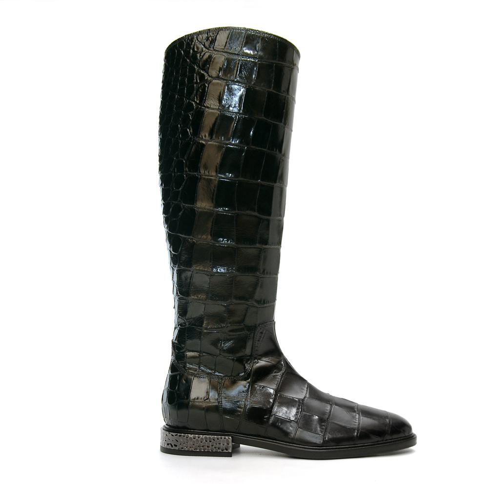 Alberto Gozzi Robi Knee High Croco Printed Black Leather Boots1