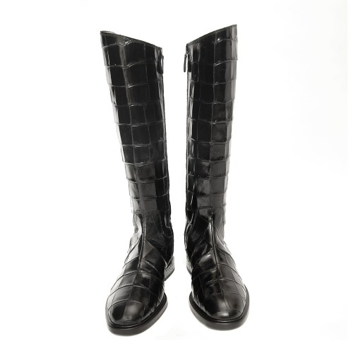 Alberto-Gozzi-Robi-Knee-High-Croco-Printed-Black-Leather-Boots2