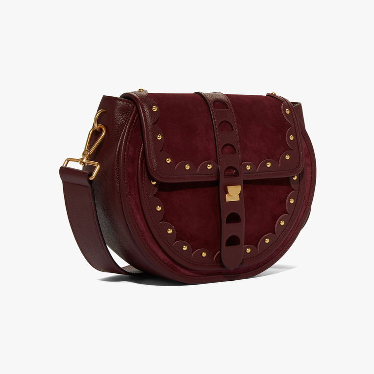 Coccinelle Carousel Suede Grape Shoulder Bag1
