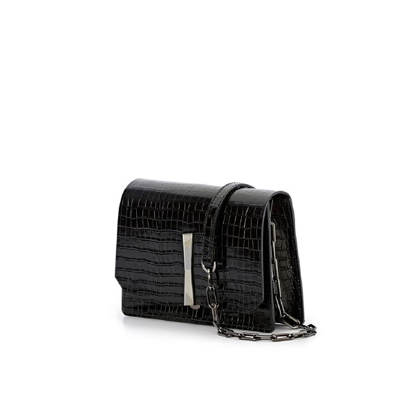 Gianni Chiarini Calypso Croco Print Black Shoulder Bag1
