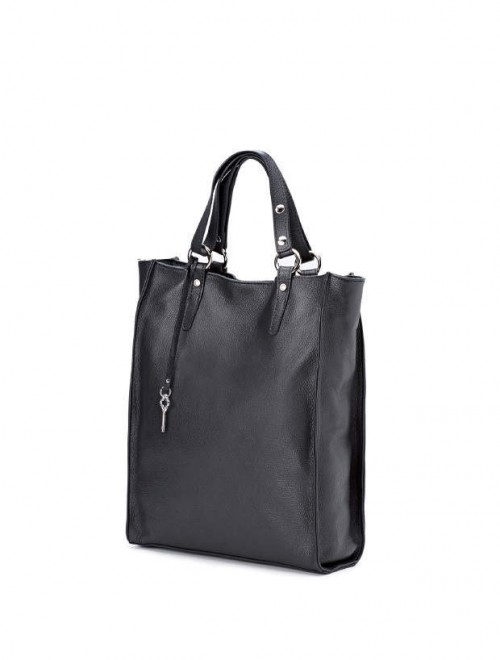 Gianni Chiarini Daisy Black Leather Tote Bag