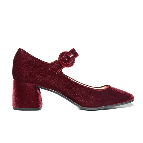 Niutrack by The Bag burgundy velvet pumps1