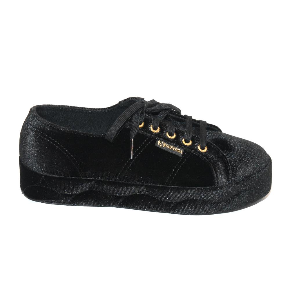 Superga 2730 Black Velvet Sneakers Medium Heel1