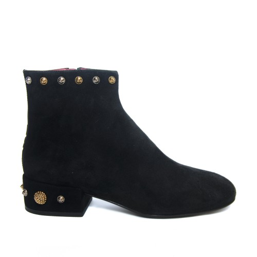 Uno8Uno Tresor Black Suede Ankle Boots Metal Studs