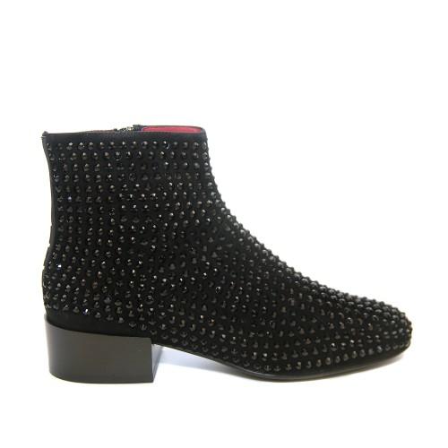 Uno8Uno Narciso Black Suede Crystal Ankle Boots1