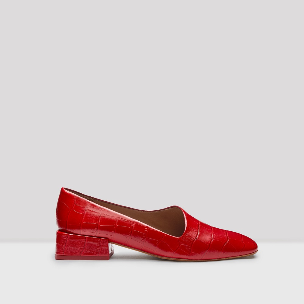coraline red croc leather flats