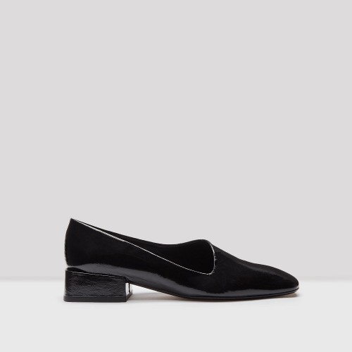 miista coraline black glossed leather flats
