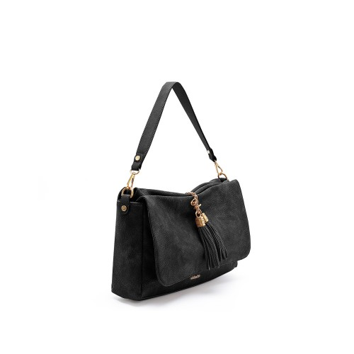 Abbacino Eco Leather Black Shoulder Bag1