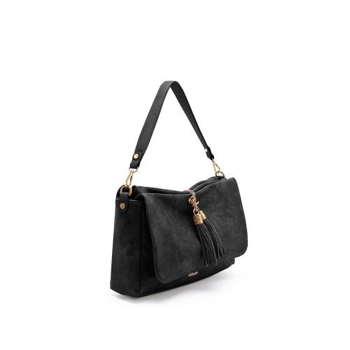 Abbacino Eco Leather Black Shoulder Bag1