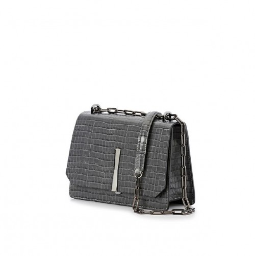 Gianni Chiarini Calypso Croco Print Grey Shoulder Bag
