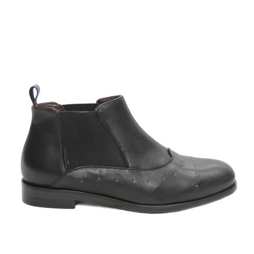 Lilimill 6531 Black Leather Flat Booties1