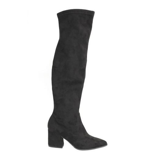 Paola Ferri Black Suede Over Knee Stretch Boots1