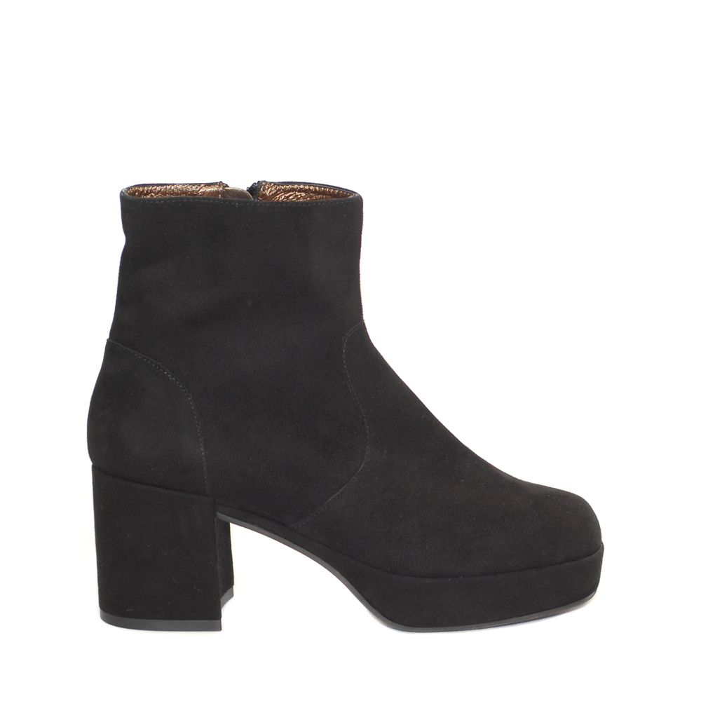PF16 by Paola Ferri Black Suede Ankle Boots Block Heel1