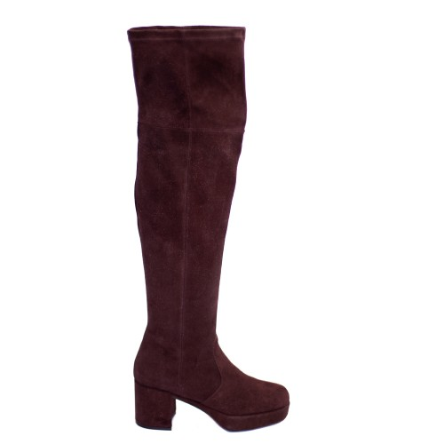 PF16 by Paola Ferri Merlot Suede Platform Over Knee Boots1