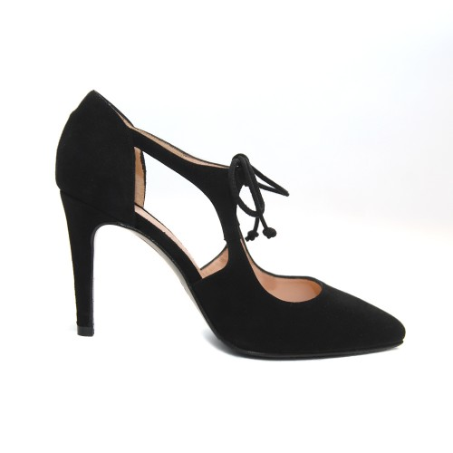 The Bag Cutout Black Suede Pointed Toe Pumps
