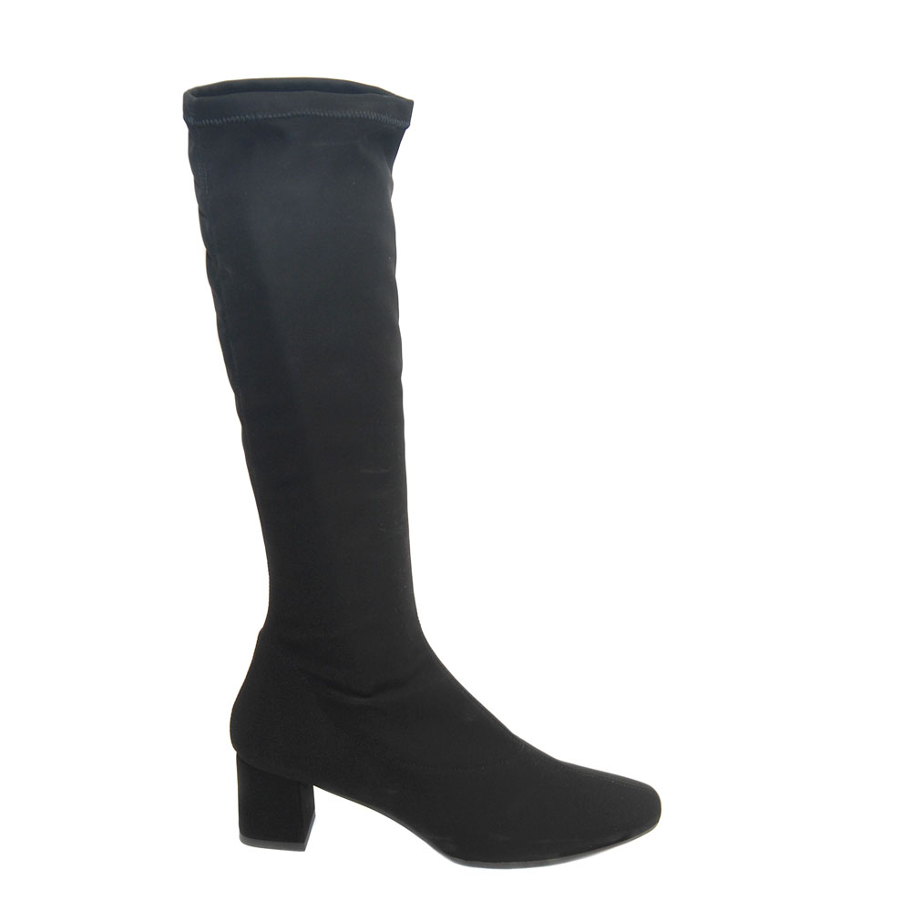 The Bag Black Stretch Fabric Knee Boots1