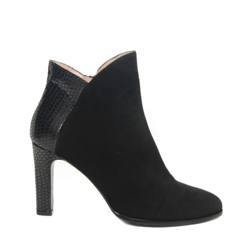The Bag Black Suede Ankle Boots Back Snake Patent1