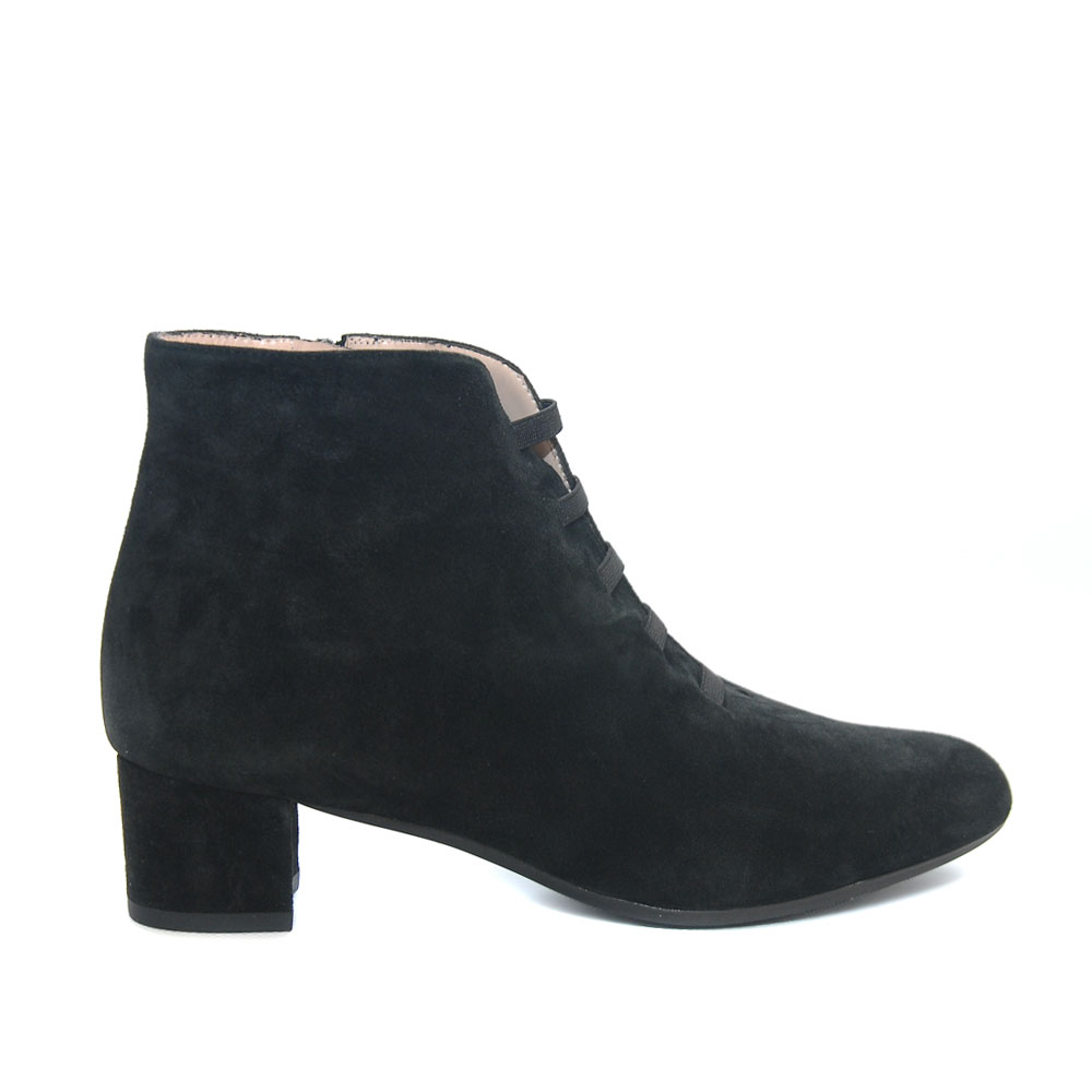 The Bag Black Suede Ankle Boots Elastic Laces1