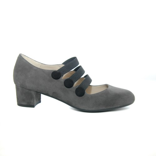 The Bag Grey- Suede Medium Heel Pumps Elastic Bunds1