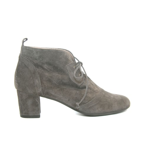 The Bag Grey Suede Soft Leather Booties Medium Heel Laces1