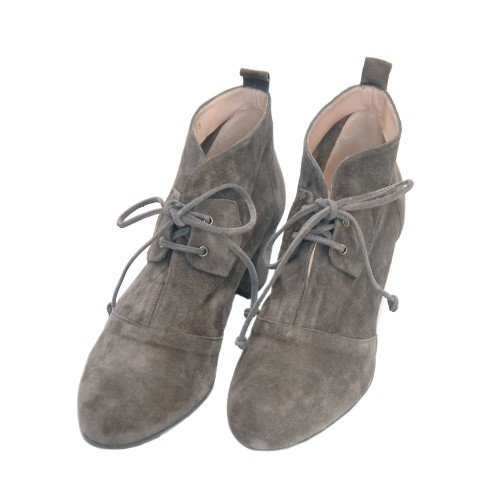 The-Bag-Grey-Suede-Soft-Leather-Booties-Medium-Heel-Laces2