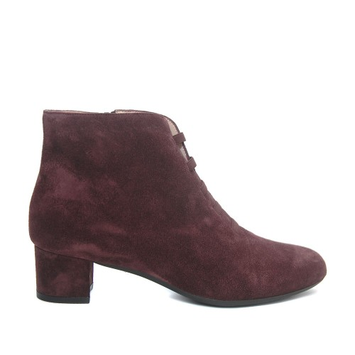 The Bag Merlot Suede Ankle Boots Elastic Laces1
