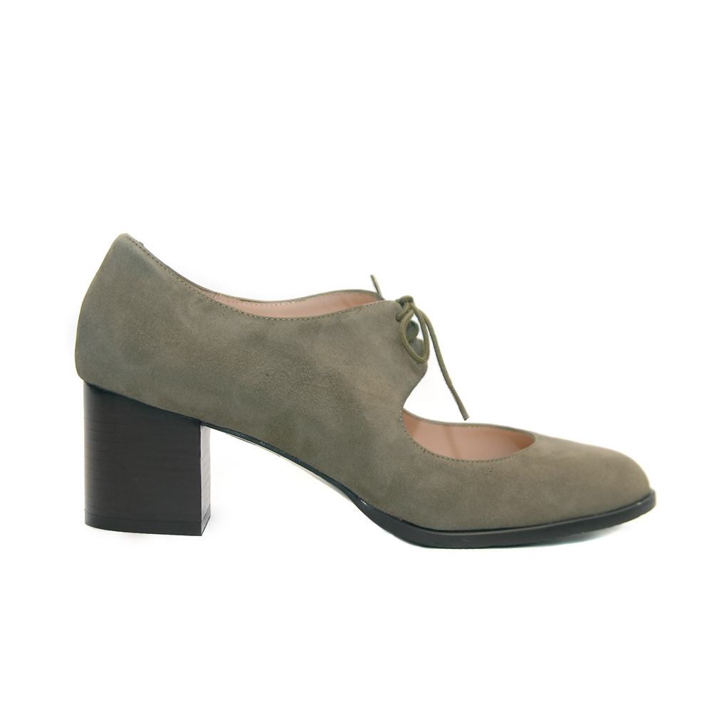The Bag Olive Suede Mid Heel Shoes Laces1