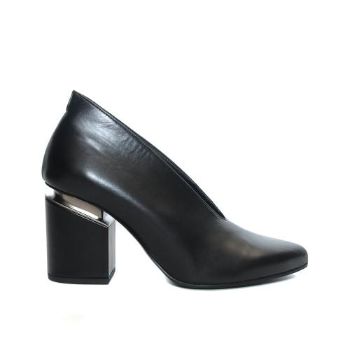 Vic Matie Black Leather Pumps Suspended Heel1