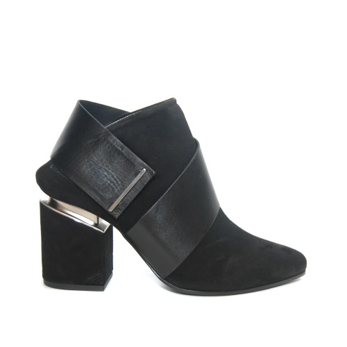 Vic Matie Black Suede Booties Suspended Heel1