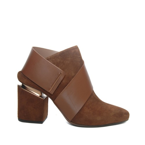 Vic Matie Tan Suede Leather Booties Suspended Heel1