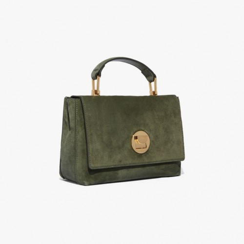 Coccinelle Liya Olive Green Suede Mini Shoulder Bag1