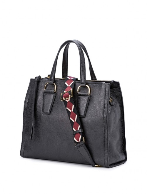 Gianni Chiarini Elettra Black Leather Large Tote Bag1