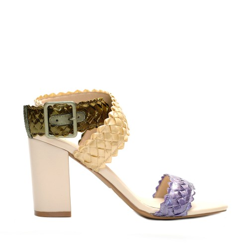 E8 Agata mix color lam knitted straw sandals