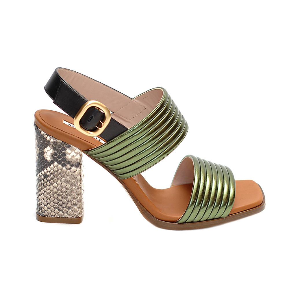 Alberto gozzi double green strap snake print heel sandals