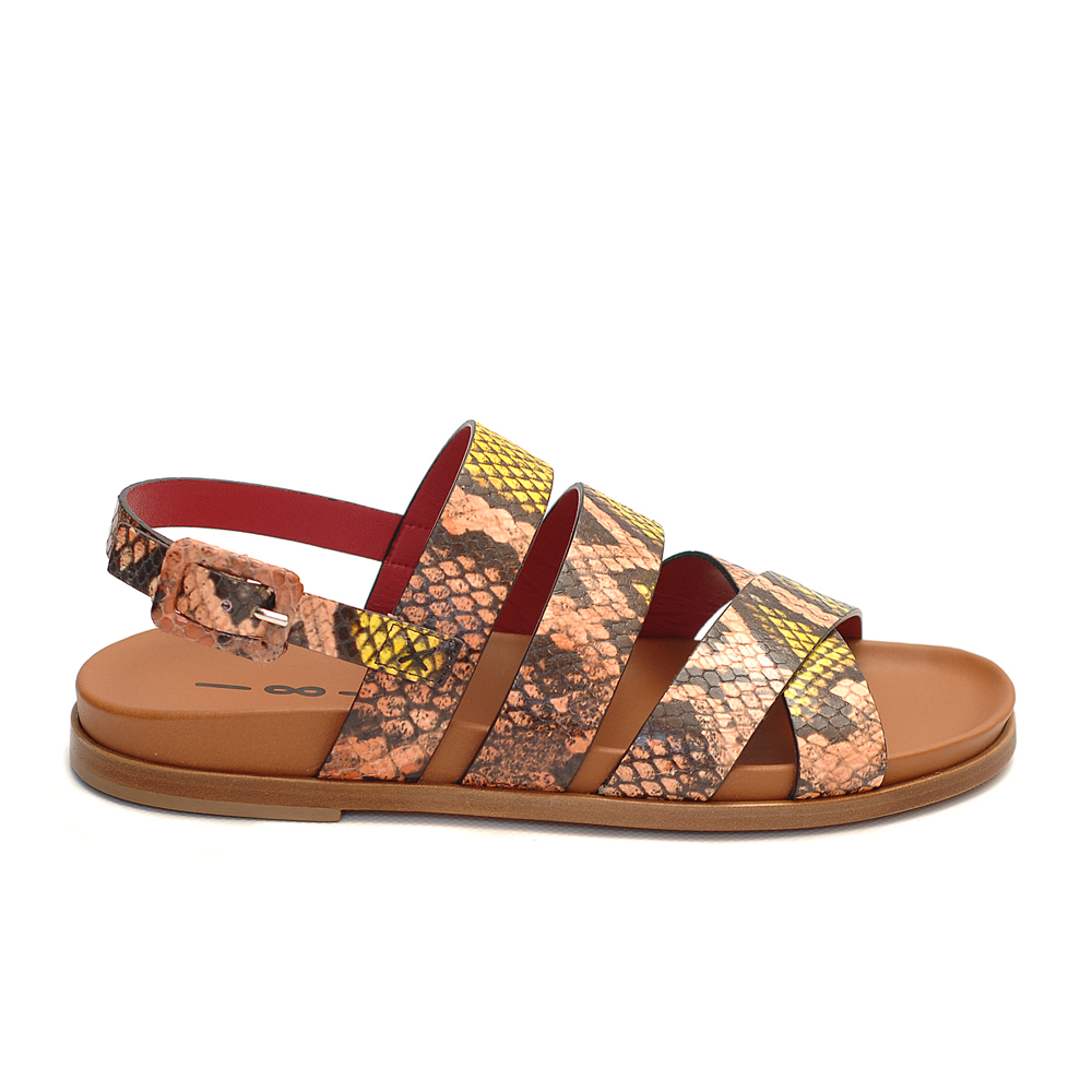 Uno8uno elba fard leather snake print sandals