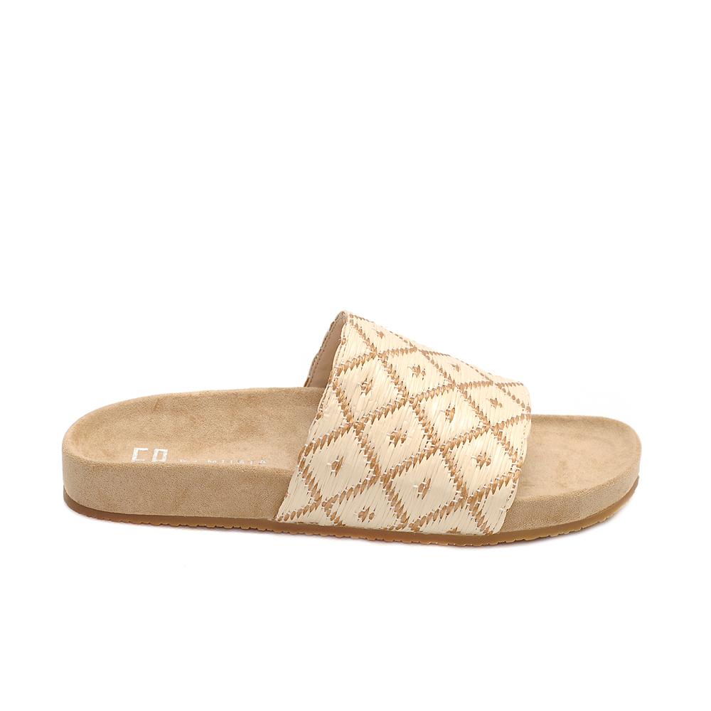 E8 Miista luciana tan cream raffia sandals ethnic pattern