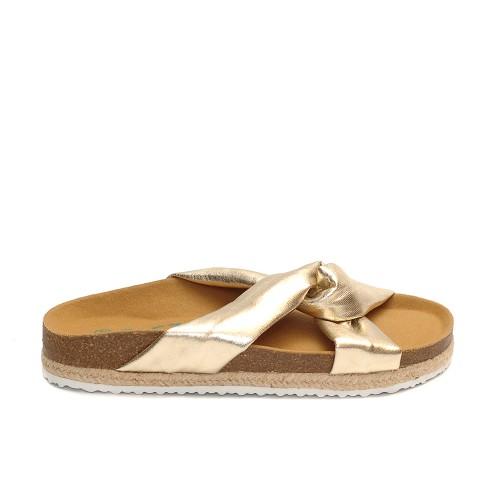 Paez crosswise golden sandals triple line sole